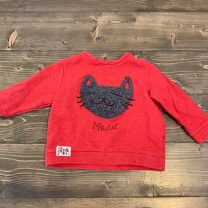 Baby boy sweater with furry cat face